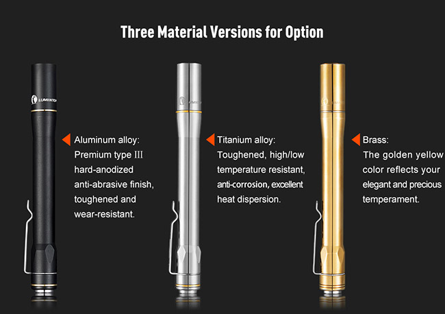 Titian Alloy Lumintop Iyp365 Ti AAA Flashlight , Powerful LED Pen Flashlight