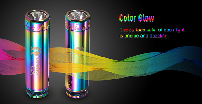 Personalized Mini LED Flashlight Glowing Tritium Tube Chromatic Body