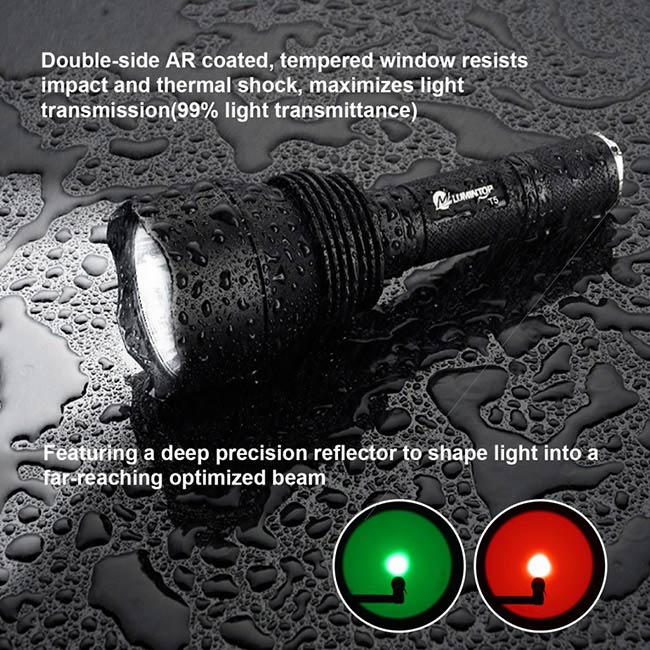 Color Changeable Hunting LED Flashlight With Gun Mount / Remote Controller