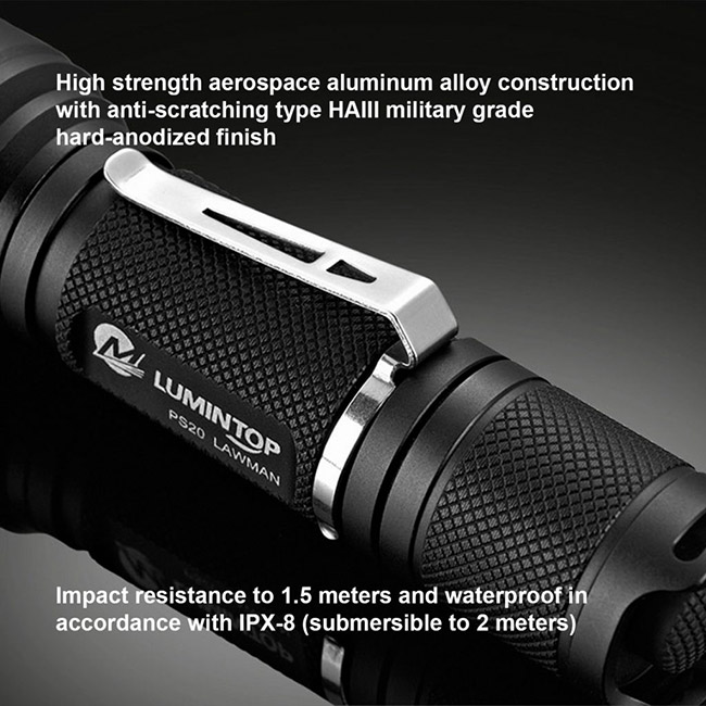 Special Lumintop Ps20 LED Torch , Military Torch Flashlight Stainless Steel Clip