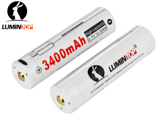 China Rechargeable Lumintop Lm34c Battery , 3400mAh 18650 Lithium Rechargeable Battery supplier