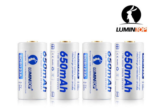 China Circuit Protected RCR123A Rechargeable Flashlight Batteries 3.7V 650mAh Capacity supplier