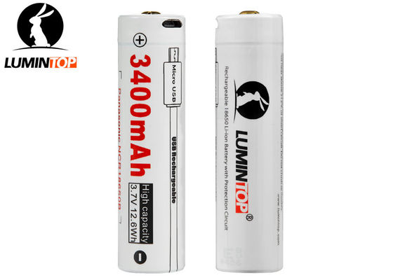 China 3400mA USB Rechargeable Flashlight Batteries Using Panasonic NCR18650B supplier